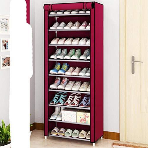 Estante de almacenamiento de zapatos de tela no tejida a prueba de polvo pasillo ahorro de espacio organizador de zapatos soporte zapatero para el hogar-14