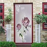 ADYNL Adhesivos para Interiores Puertas Mural De Puerta Dormitorio 77X200Cm Flor Rosa De Cristal Etiqueta De La Puerta 3D Pared Mural Art Poster Pegatinas De Puerta Autoadhesivo Removible
