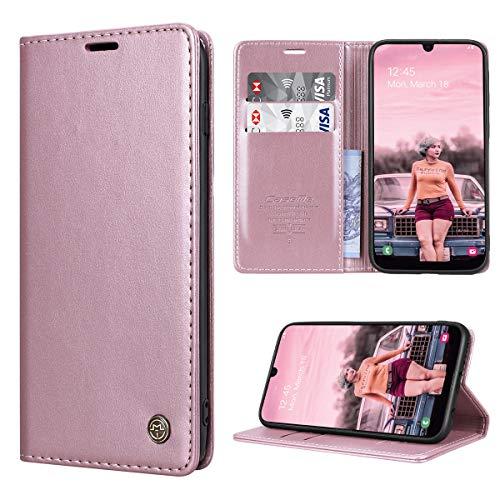 RuiPower Handyhülle für Samsung Galaxy A50 Hülle Premium Leder PU Flip Hülle Wallet Lederhülle Klapphülle Magnetisch Silikon Bumper Schutzhülle für Samsung Galaxy A50/ A30S/ A50S Tasche - Rose Gold