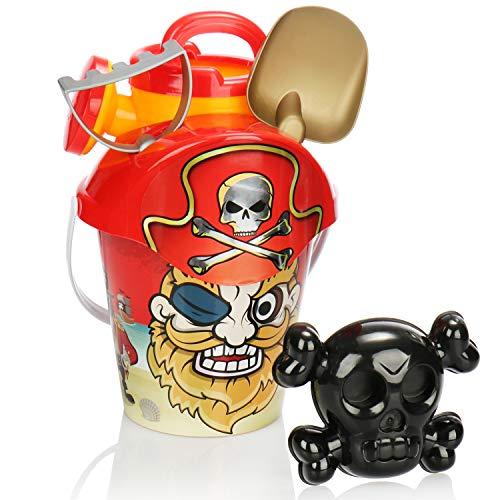 com-four® 6-teiliges Strandspielzeug-Set - Sandspielzeug für Strand und Sandkasten - Eimer, Deckel mit Sieb, Schippe, Harke, Form und Gießkanne (rot)