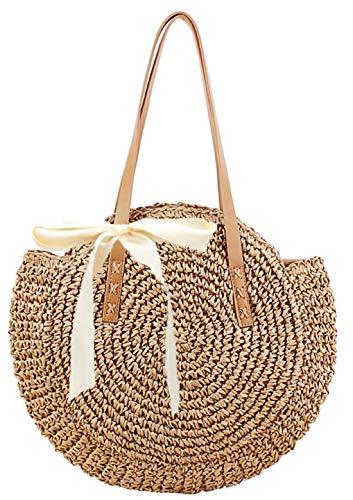 Straw Handbags Women Handwoven Round Corn Straw Bags Natural Chic Hand Large Summer Beach Tote Woven Handle Shoulder Bag (Khaki)
