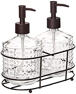 Circleware Vintage Soap Dispenser Bottle Pumps in Metal Caddy 3-Piece Set of Home Bathroom Accessories, Farmhouse Decor for Essential Oils, Lotions and Liquids, 17.5 oz, Hobnail Bronze (B07K6XKRR2) | Amazon price tracker / tracking, Amazon price history charts, Amazon price watches, Amazon price drop alerts