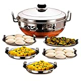 MVEN All-in-One Big Size Stainless Steel Idli Cooker Multi Purpose Kadai Steamer with Copper Bottom Multi Kadai with 5 Plates Big Size 2 Idli | 2 Dhokla | 1 Patra, Momo's Copper Bottom