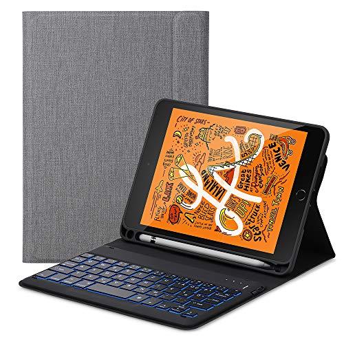 iPad Mini 5 2019 Tastatur Hülle, Keyboard Case mit Integrierte Bluetooth-Tastatur QWERTZ (Deutsch) Ständer Stifthalter Stoßfest Tasche Smart Folio Cover Schützhülle (Grau)
