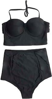 wlgreatsp 女性女の子 ハイウエスト水着 プッシュアップブラ ブラックビキニ 2PCSセット ビーチウェア