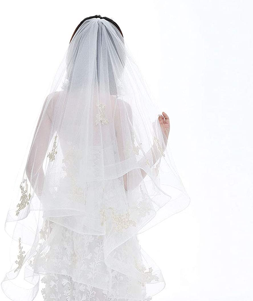 2 Tiers Waltz Length Wave Edge Wedding Veils for Brides with Champagne Lace and Metal Comb