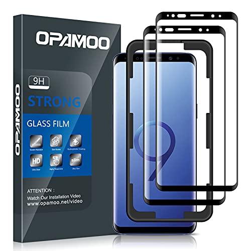 opamoo [2 Stück] Full Screen Panzerglas Kompatibel mit Samsung Galaxy S9, Schutzfolie mit Positionierhilfe Anti-Bläschen Anti-Kratzen Kratzfest 9H-Härte HD Displayschutzfolie für Samsung Galaxy S9
