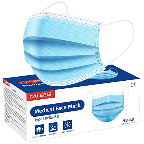 50PCS Disposable Medical Face Mask 3Layer Breathable Comfortable Safety Masks With Earloops and Metal Nose Wire
