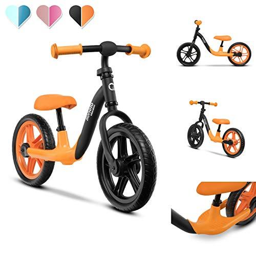 Lionelo LOE ORANGE Alex loopfiets kinderen fiets tot 30 kg zadel en stuur verstelbaar 12 inch Eva schuimwielen robuuste constructie stuurvergrendeling EN 71