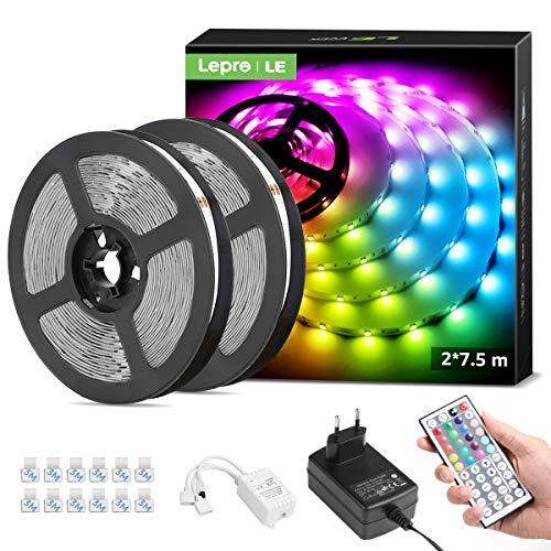 LE Tira Luz RGB 15M, Tira LED 5050 SMD, Tiras Luces LED RGB con Función de Memoria, Voltaje de Entrada 12V, Ángulo de Haz 120°, Fuente de Alimentación y Controlador Incluidos