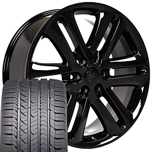 22x9 Wheels & Tires Fit Ford Trucks - F150 Style Black Rims and Goodyear Tires, Hollander 3918 - SET