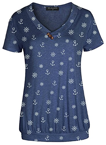 Fleasee Damen T-Shirt Lässig Kurzarm Basic Tee V-Ausschnitt Shirts Stretch Falten Tunika mit Knöpfen Allover Minimal Druck Sommer Oberteile Tops