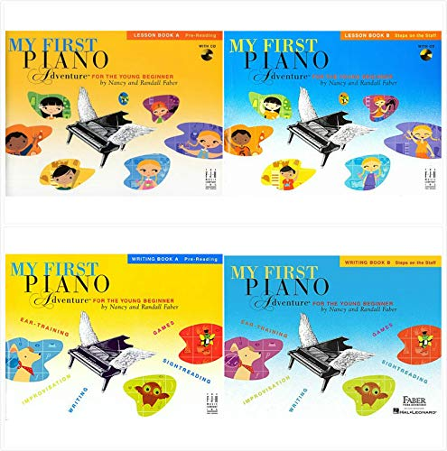 My First Piano Adventure Books Set (4 Books) - Lesson Book A, Writing Book A, Lesson Book B and Writing Book B