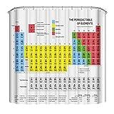Comius Sharp Periodensystem Duschvorhang, Kinder Kinder Erziehungswissenschaft Chemie für Schüler Lehrer Kunst, Polyester Badezimmer Dekor Set mit 12 Haken 180 x 180 cm