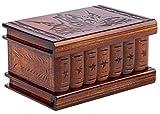 Wooden Secret Jewelry Box Puzzle Magic Case, Big Size, Secret stash Safe Compartment Place Lock with Hidden Key, Money Rack, Brain Teaser, Smart Trick - Measures 5.5'x3.7'x2.8'
