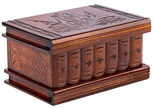 Wooden Secret Jewelry Box Puzzle Magic Case, Big Size, Secret stash Safe Compartment Place Lock with Hidden Key, Money Rack, Brain Teaser, Smart Trick - Measures 6.3'x4.4'x3.6'