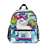 Rucksack Baby Unicorn Regenbogen Haarfarbe Rucksack Perfekt für Schulreisen Kindertagesstätte für Teen Boys Girls