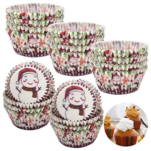Liwein Papel para Magdalenas, 500 Piezas Mini Moldes Magdalenas Papel Muffin Moldes de Horneado Pequeñas Papel Cupcakes para Postres Hornear Pastel Tarta Cumpleaños Bodas Fiesta (Muñeco de Nieve)