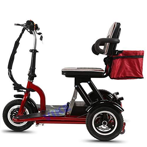 BR Sicherheitsscooter Elektromobil Elektrisches Dreirad Hlithium Batterie Faltbares Roller Bequemer Sitz Geeignet für Ältere Menschen Stahlrahmen Rot