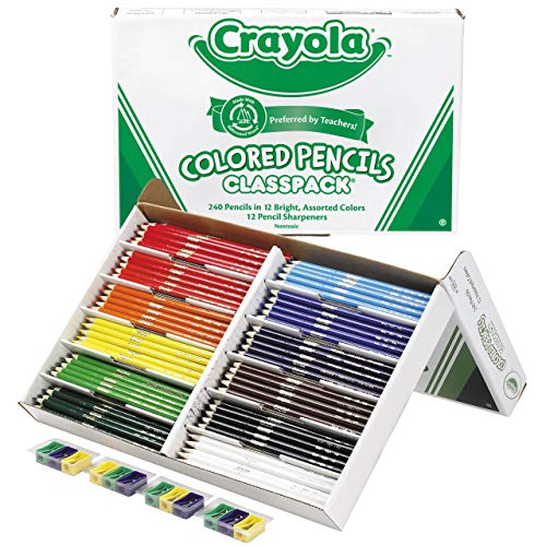 Crayola Colored Pencils Bulk Classpack Classroom Supplies 12 Assorted Colors 240 Count Standard