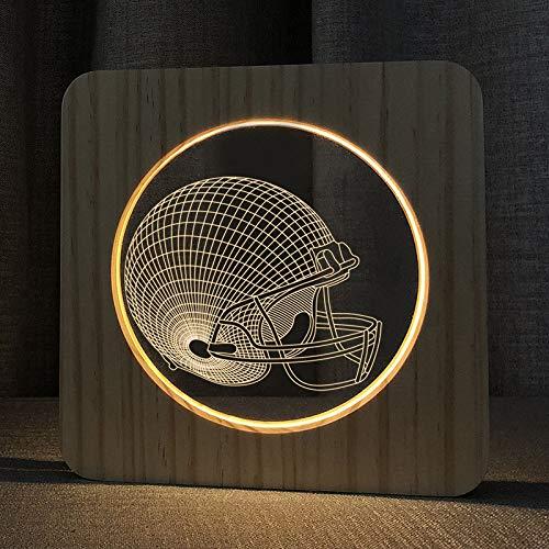 SZG Football Helm 3D Holzlampe LED Nachtlicht Home Room Decoration Kreative Tischlampen für Kinder Geschenk