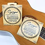 Smiger GSC-028 Classical Guitar Strings Nylon Silver wound,Light Great Bright,Rust prevention.028-.043 (2 Pack)