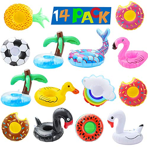Inflatable Drink Holders pool coasters for drinks Floats Inflatable Cup Coasters Holders for Summer Pool Party and Kids Water Fun Bath Toys (14 pcs Colorful)