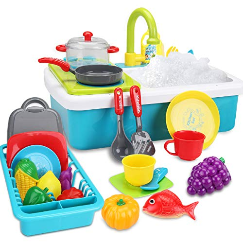 FS Kids Play Kitchen Sink Toys, Electric Dishwasher Playing Toy with Sink, Running Water, Stove, Utensils and Playfood, Automatic Water Cycle System Pretend Role Play Toy for Boys Girls, Ages 3 4 5 6