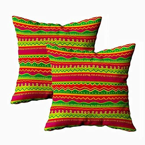 Fundas de almohada, decoración cuadrada, 45,7 x 45,7 cm, 2 piezas, color verde, rojo y suave, regalo de arte con cremallera