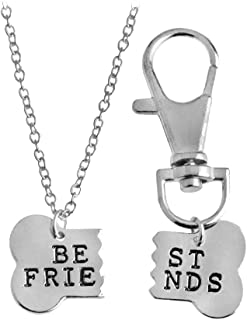 Fashion 2 Pcs Couples Alloy Dog Bone Necklace Key Chain Best Friends Puzzle Pendant Matching Dog Tag Necklace Set