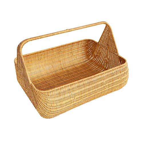 Panier à provisions portatif de Panier de Rangement de Panier de Panier de Pique-Nique, pour la Famille/extérieur,Yellow,Large