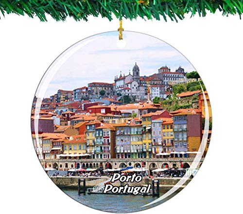 Bernice Winifred Portugal Porto Christmas Ornament City Travel Souvenir Collection Double Sided Porcelain 2.85 Inch Hanging Tree Decoration