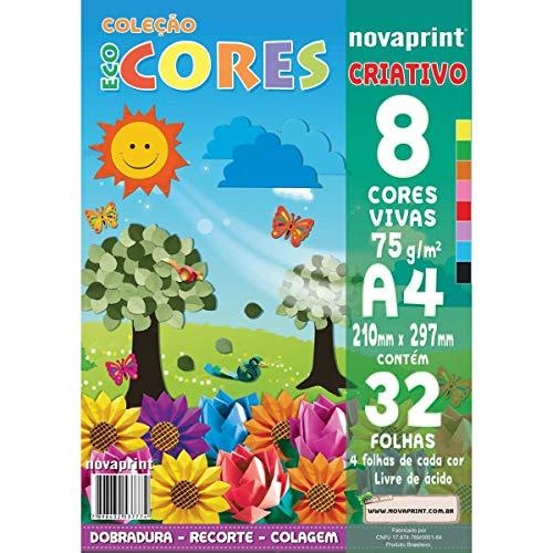 Bloco Criativo A4, Novaprint, Eco Cores, PCS000021, 210x297mm, 8 Cores, 32 Folhas