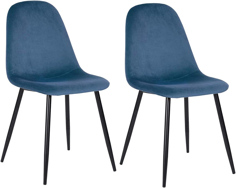 Velvet Dining Chair Set of 2 Elegant Upholstered Chair with 4 Metal Legs for Dining Room Kitchen Living Room (bluee)