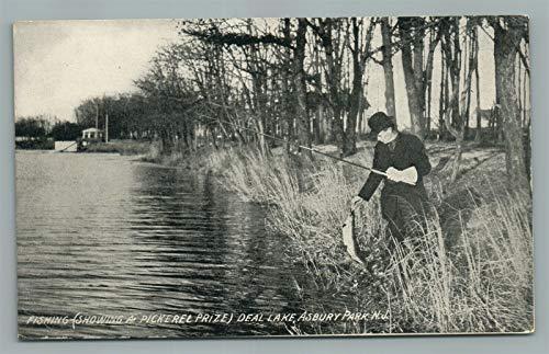 ASBURY PARK NJ DEAL LAKE FISHING ANTIQUE POSTCARD