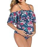 LFQAXE Plus Size Maternité Maillot Holistique épaules Maillot de Bain Bikini Flounce for Vacances/Plage/Piscine (Size : S)