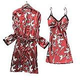 Laura Lily - Pijamas Mujer de Satén Sedoso con Encaje Bordado y Estampado Floral Conjunto de 2 Piezas (Rojo, M-L)