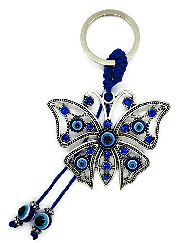 Bravo Team Lucky Evil Eye Car Hanging Ornament & Keychain - Silver Metal Butterfly w/Blue Crystal Rhinestones & Blue, White & Black Resin Evil Eyes Beads - Rear View Mirror Accessories for Men & Women