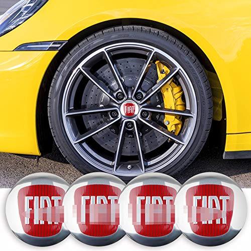 ZGYAQOO 4 Stück Embleme Radnabenkappen Aufkleber Nabendeckel für FIAT Viaggio Abarth Punto 124 125 500, 56mm Ersatzteil Alufelgen Nabenkappen