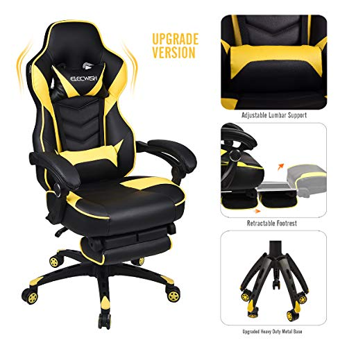 Video Gaming Chair Racing Office - PU Leather High Back Ergonomic Adjustable Swivel Executive Computer Desk Task Large Size with Footrest,Headrest and Lumbar Support (Black+Yellow) black chair gaming