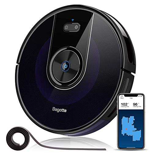 Bagotte BG800 Robot Vacuum, Wi-Fi Connected, Map, 2200Pa High Suction Robotic Vacuum Cleaner, Alexa & App Control, Smart Navigation, Self-Charging, Ideal for Pet Hair, Carpets, Hard Floors