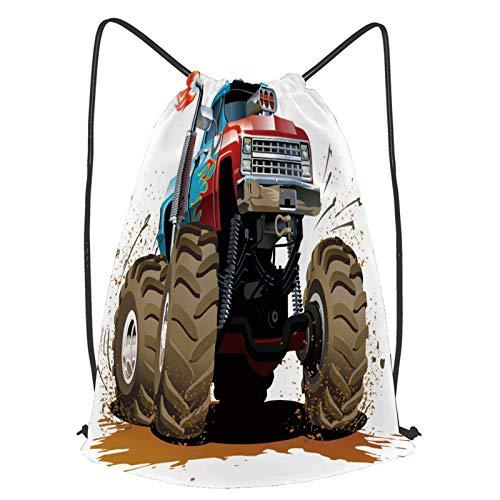 fudin Impermeable Bolsa de Cuerdas Saco de Gimnasio Monster Truck Salpicaduras Barro Diseño Gráfico Llamas Maquinaria Motor Ruedas Deporte Mochila para Playa Viaje Natación