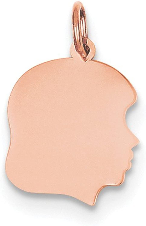 Diamond2Deal 14k pink gold Plain Medium .011 Gauge Facing Right Engraveable Girl Head Ch Pendant