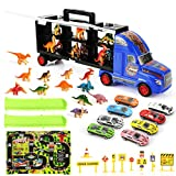 ZEAVAN Dinosaur Transporter Racing Truck Toy Game Set, Sport Cars Alloy Metal Model Assorted Vehicle Set with Activity Play Mat & Truck Track for Kids Boys Girls Gifts, 33PCS