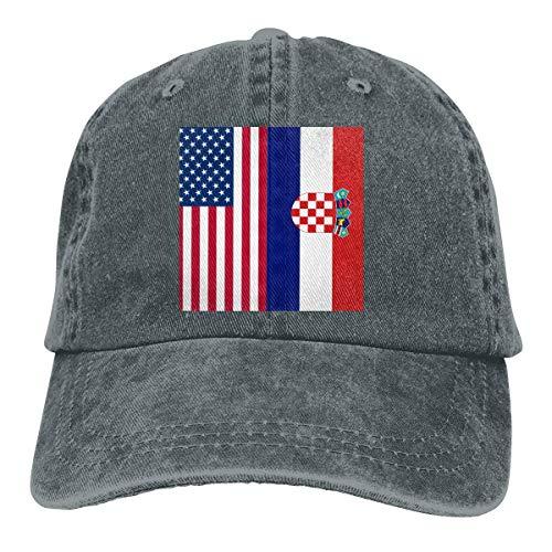 Casquette de baseball en denim avec drapeau américain de la Croatie