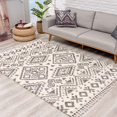 Teppich Hochflor Wohnzimmer - Ethno Geo Design 200x290 cm Creme Grau - Teppiche mit Fransen