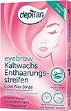 Tiras de cera para cejas, depilan eyebrow Cold Wax Strips, 1 paquete (12 aplicaciones + 4 toallitas...