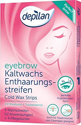 Augenbrauen Wachs-Streifen, depilan eyebrow Cold Wax Strips, 1 Packung (12 Anwendungen + 4 Pflegetücher)