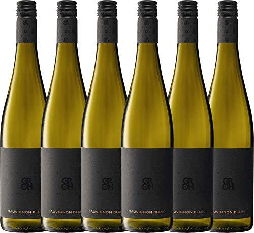 VINELLO 6er Weinpaket Weißwein - Sauvignon Blanc 2019 - Groh mit Weinausgießer | trockener Weißwein | deutscher Sommerwein aus Rheinhessen | 6 x 0,75 Liter