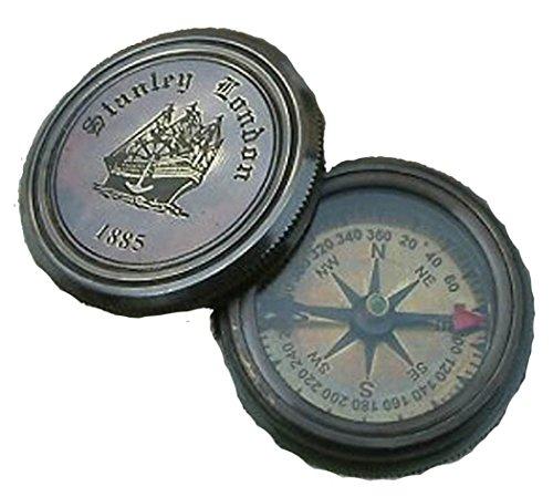 Finition laiton antique Robert Frost Poème Maritime Boussole (bo55 a)